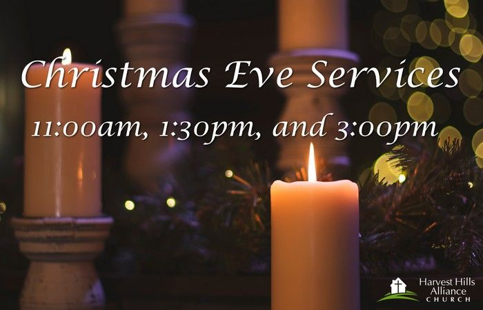 Christmas Eve Services at 11:00am, 1:30pm, and 3:00pm